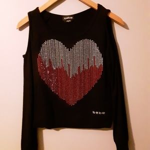 Bebe cold shoulder sweatshirt top EXCELLENT